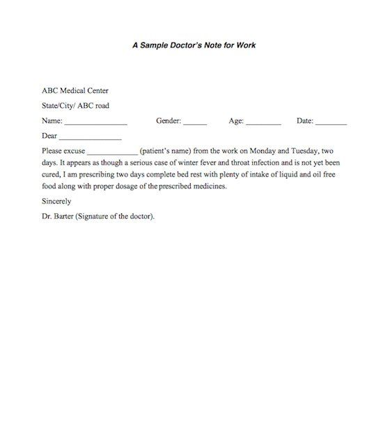 21 Free Doctor Note Excuse Templates Template Lab Doctors Note In 2019 Doctors Note