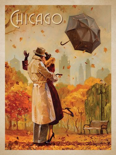 Chicago: Windy City Kiss - This series of romantic travel art is made from original oil paintings by artist Kai Carpenter. Styled in an Art Deco flair, this adventurous scene is sure to bring a smile and maybe even a smooch to any classic poster art lover!<br />