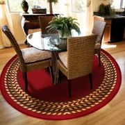 Orian Rooster Braid Rouge 63 Round Kitchen Area Rug Stain Resistant