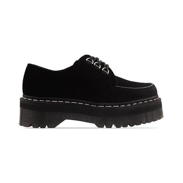 Agyness Deyn X Dr. Martens Aggy Creeper (€88) ❤ liked on Polyvore featuring shoes, boots, ankle booties, black, creepers, black platform boots, black ankle booties, faux fur boots, black booties and velvet boots