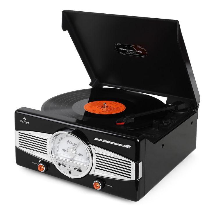 Auna MG-TT-82B Retro '50s Turntable (FM/AM Radio, Built in Speakers & Classic Design) - Black: Amazon.co.uk: Hi-Fi & Speakers