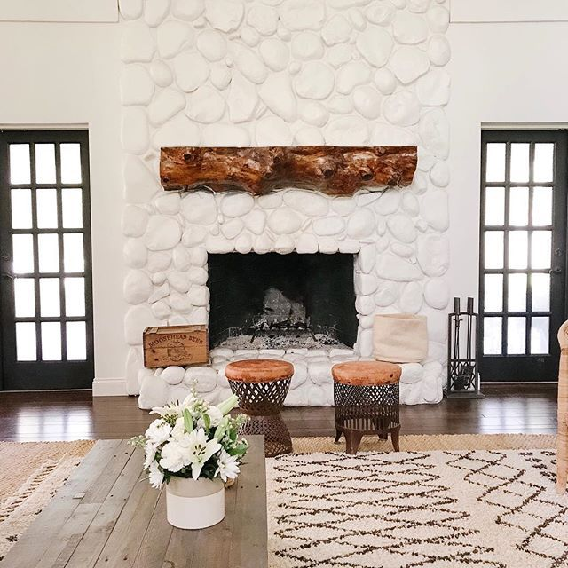 Farmhouse Family Room With Painted White Fireplace Painted River Rock Fireplace Farmhouse With Painted Rock Fireplaces River Rock Fireplaces Rock Fireplaces