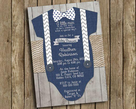 boy baby shower invitation navy blue gray onesie bow tie suspenders burlap chevron polkadot wood shabby