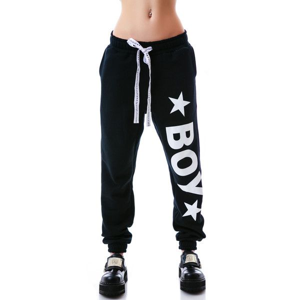 BOY London BOY Star Sweatpants ($105) ❤ liked on Polyvore featuring activewear, activewear pants, pants, bottoms, legs, sweats, boy london, star sweatpants, sweat pants and black sweat pants