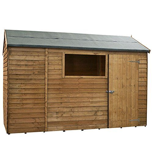 10x6 Wooden Overlap Garden Storage Shed, Windows, Single Door, Solid Sheet Board Floor, Reverse Apex Roof, 10ft 6ft Free 3-5 Day Delivery + 10 Year Guarantee From Waltons---379.9---