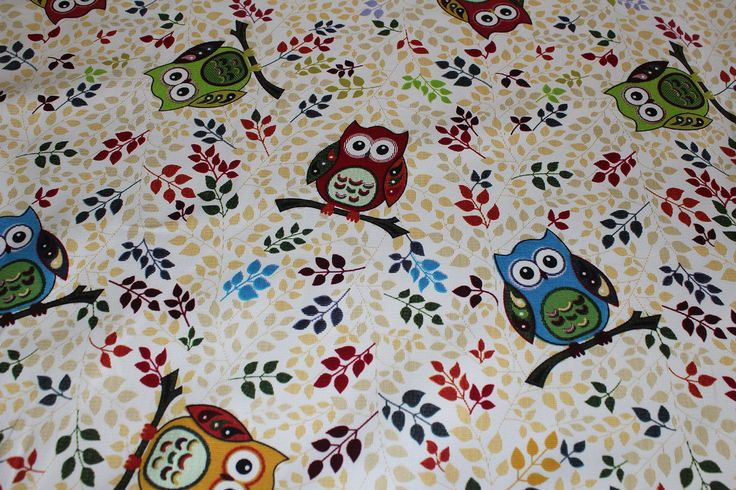 Heavy Cotton Scattered Owls Print Curtain Fabric *Limited Stocks* This is a heavy-weight curtain fabric with a Funky Owl and of the moment style print. Print re