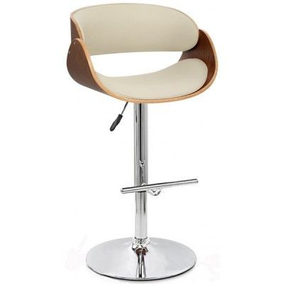 Madrid Faux Leather KD Swivel Barstool  Features:  21 x 19.5 x 34 – 42″ Adjustable Seat Height: 24 – 32″H 45cm diameter Base for Stability Walnut Bentwood Available colors: Cream or Black