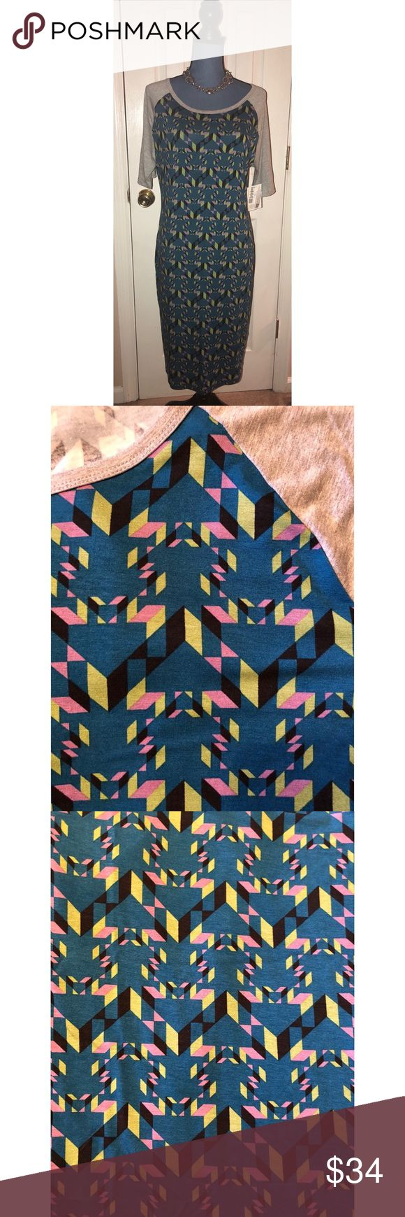Julia dress Lularoe Size L Abstract print NWT The Julia dress from LulaRoe is a more form fitting style.  This is a size large.  Personally, I like a size up.  A sizing chart is available in pictures as well as fabric content.  Beautiful abstract print.  Necklace not included. NEW WITH TAGS. LuLaRoe Dresses Midi