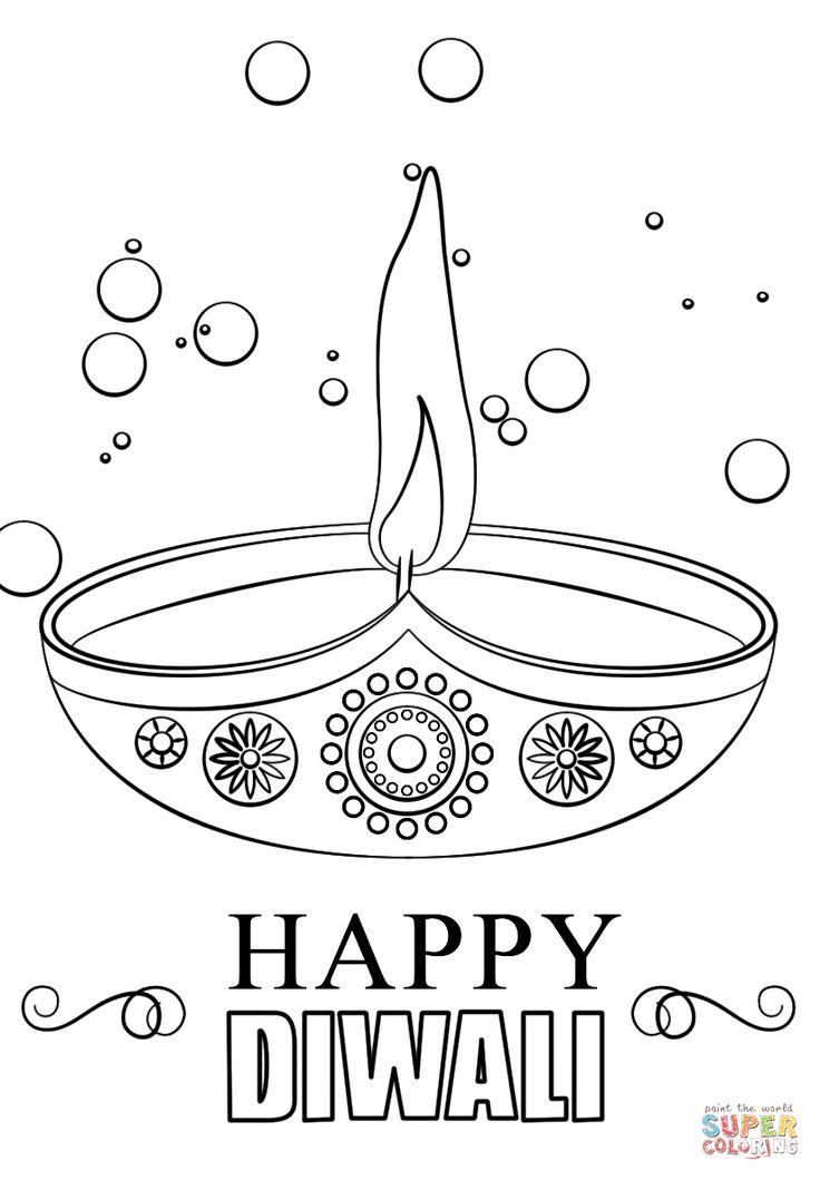 Diwali-candle-coloring-page. #Diwali #diya #India #Indian