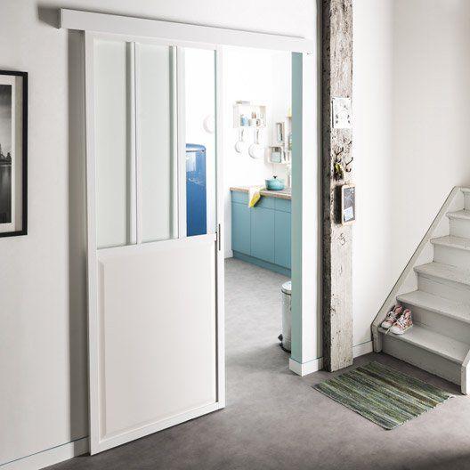 Porte coulissante aluminium blanc Atelier verre clair ARTENS, H.204 x l.73 cm
