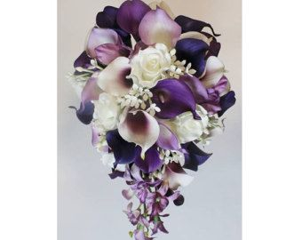 Cascade Wedding Calla Lily Bouquet Cramberry Bouquet Bridal