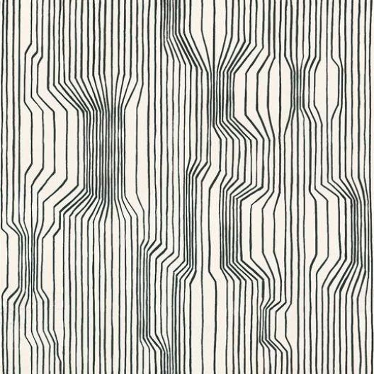 Frekvenssi (13012) - Marimekko Wallpapers - Vertical black lines cluster together and then veer apart, creating a striking appearance of varying depth and movement.