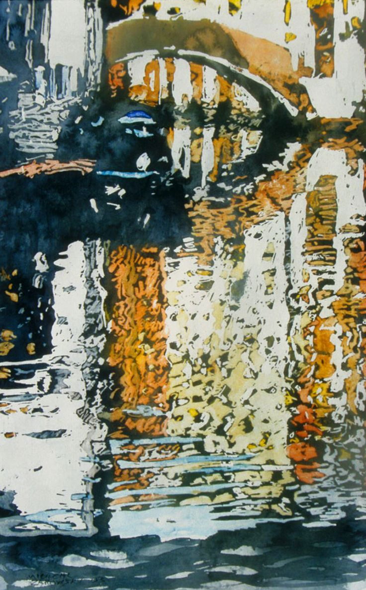 """canal 16 dorsoduro 30"""" x 20"""" venice micheal zarowsky / watercolour on arches paper / available $ 2050.00"""
