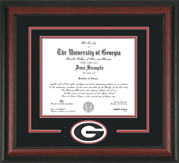 University of Georgia Diploma Frame with hardwood moulding and 3D Laser G Cutout - Black on Red Mat.  Awesome graduation gift for any Bulldog!