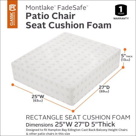Classic Accessories Montlake Rectangular Patio Lounge Seat Cushion Foam - 5 inch Thick - High Density with Protective Cover, 25 inchW x 27 inchD x 5 inchT