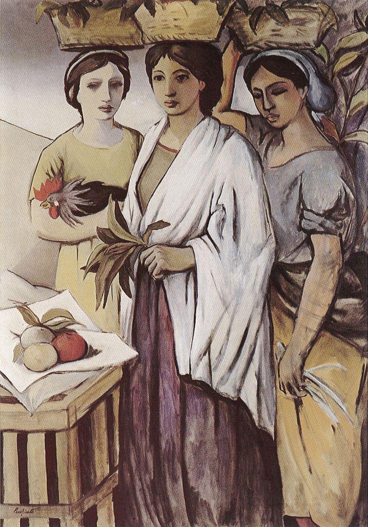"""""""Tre donne al mercato"""" (1948-49), di Domenico Purificato. Olio su tela, cm 100×140. """"Three women at the market"""", by Domenico Purificato. Oil on canvas."""