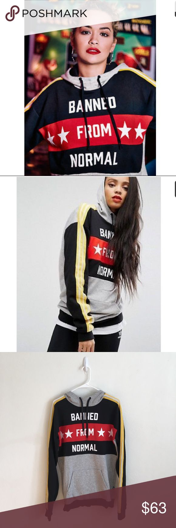 """Adidas by Rita Ora Hoodie 🖤❤️💛 Size XS oversized hoodie, fits like a M I'd say. Excellent condition, worn once. Screen print """"banned from normal"""" text. Warm and edgy hoodie. adidas Tops Sweatshirts & Hoodies"""