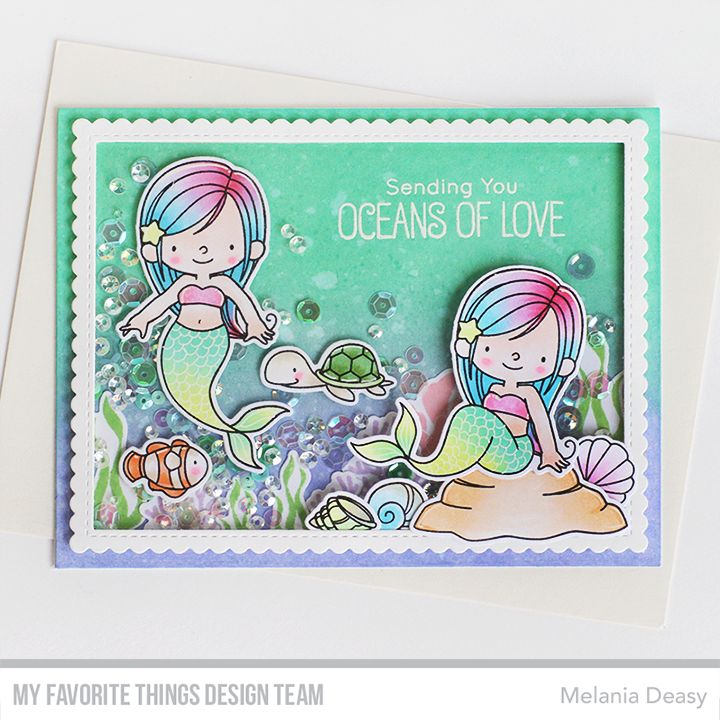Mermazing Stamp Set and Die-namics, Stitched Rectangle Scallp Edge Frames Die-namics - Mealania Deasy  #mftstamps