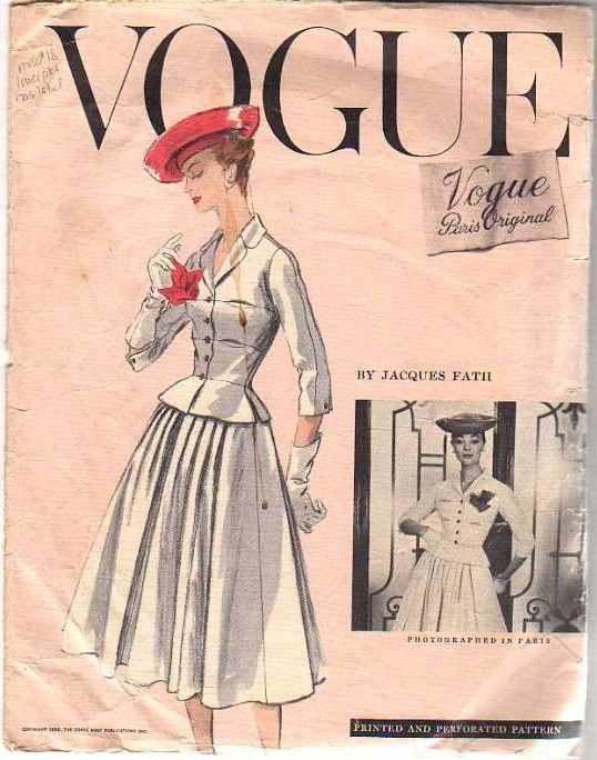 Vogue Paris Original 1336, Jacques Fath, 1956.  Acquired on eBay 7-15-12 for 137 dollars; Bust 30: Dress Patterns, Originals, Vogue Paris, Vogue Patterns, Paris Original, Vintage Pattern, Original 1336, Sewing Patterns