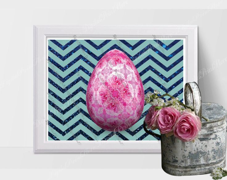 Chevron Pink Egg Easter Printable Wall Art Modern Art Scandinavian by DigitalPrintStore on Etsy
