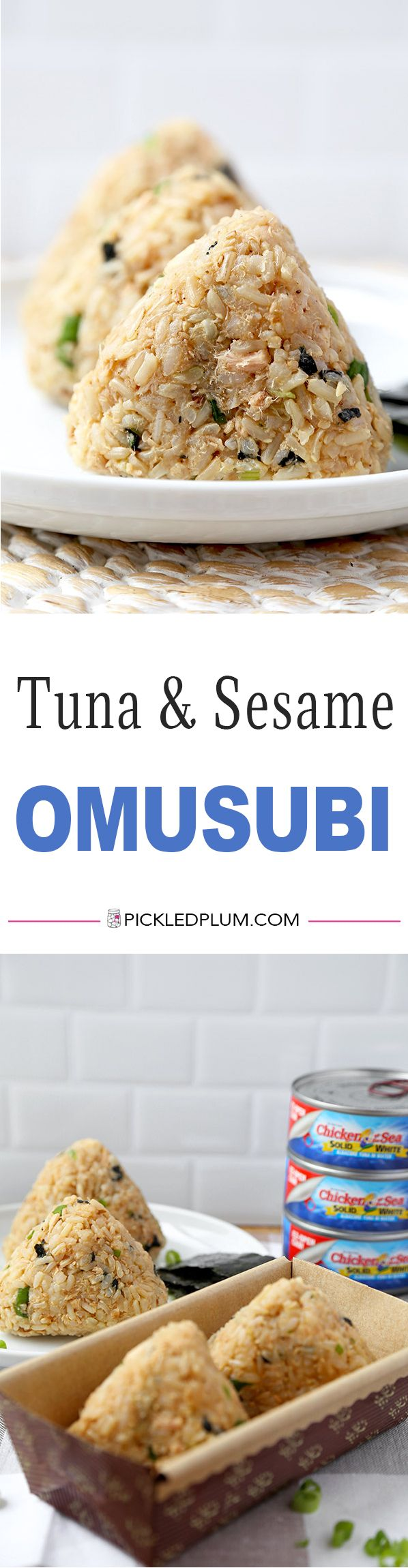 Tuna and Sesame Omusubi - Savory, sweet and nutty rice balls filled with crunchy and meaty ingredients – it's simply delicious! Recipe, healthy, rice balls, Japanese food, snack, onigiri | pickledplum.com