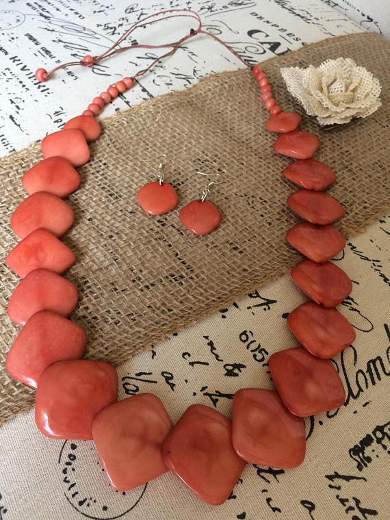 Peach necklace and earrings set Tagua jewelry Mothers day