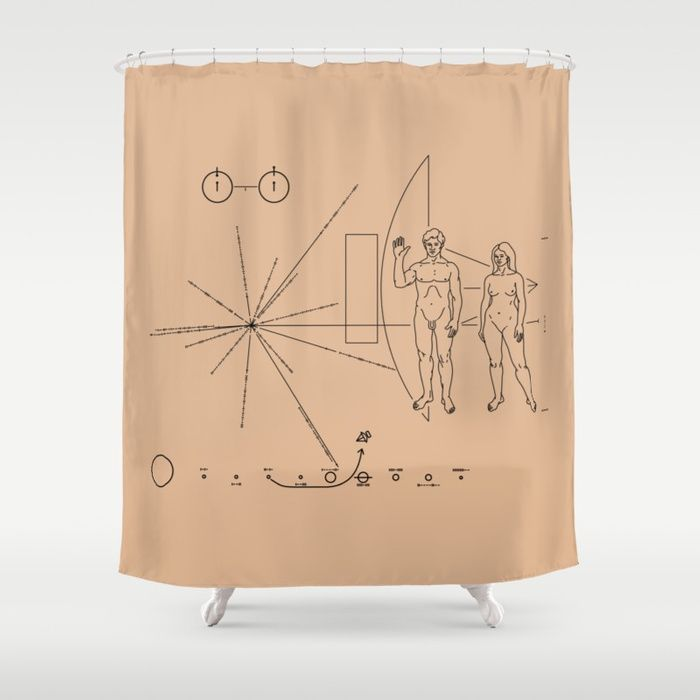 Nasa Pioneer Space Craft Plaque Alien Message Shower Curtain