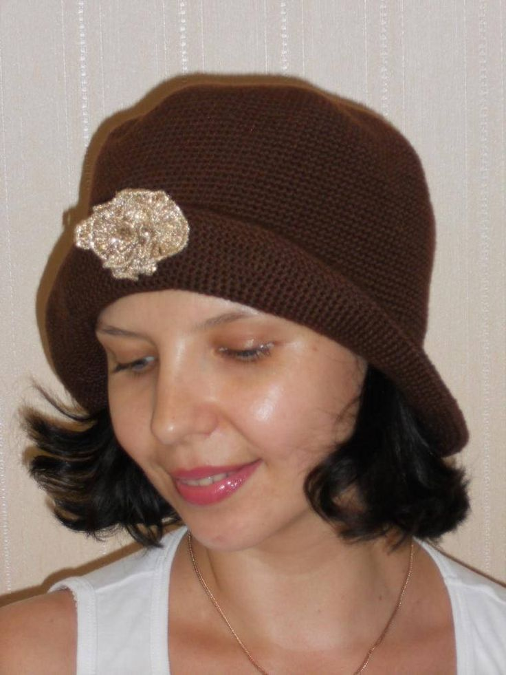 Crochet Brown Hat, Brim Hat, Floppy Hat, Womens Hat, Warm Winter Hat, Fingerless Gloves, Flapper Hat, Cloche Hat, Gift For Her, Wool Hat by AzhurLES on Etsy
