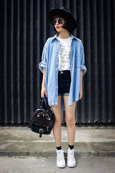 simple, graphic tee, denim, shorts, chambray, button up, white, sneakers, socks, backpack, casual, comfy