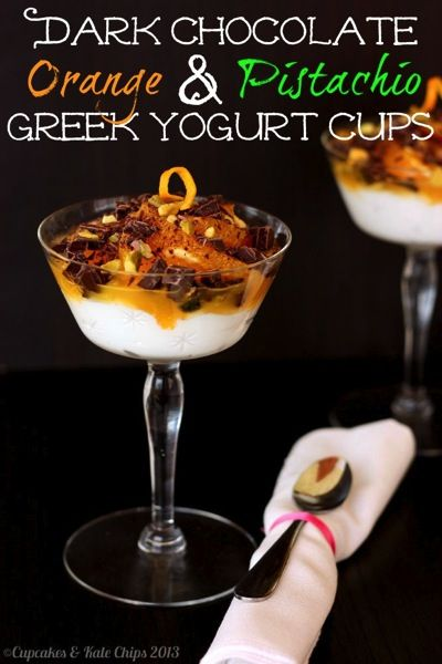 Dark Chocolate, Orange & Pistachio Greek Yogurt Cups