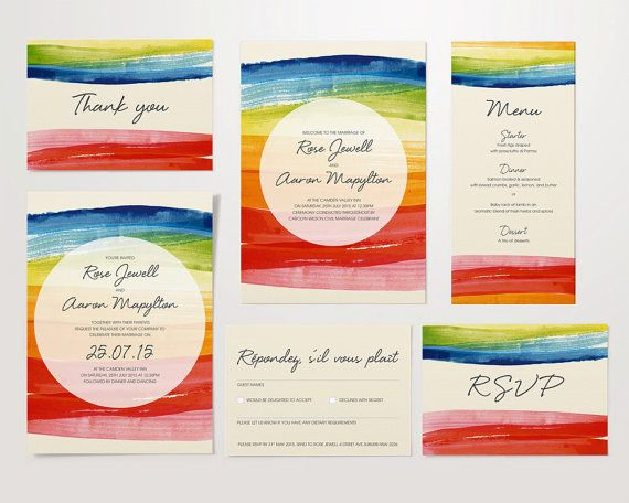 Wedding Rainbow Stationery Set  invite save the date by OscarRoxie