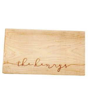 Engraved with a name, this solid maple cutting board is so pretty, you'll leave it out even when you're not dicing and slicing in preparation for your next meal.