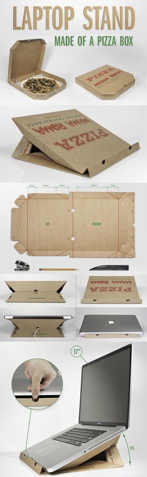 DIY Pizza Box Laptop Stand