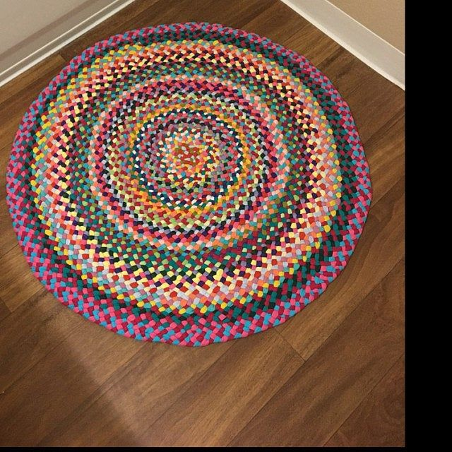 New Ready To Ship Handmade Hand Braided Recycled Round Rug Etsy Rugs Round Braided Rug Rugs On Carpet