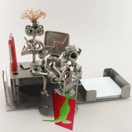 Bureau met werknemers - Kantoor beeldjes - Beroepen beeldjes - Metalen beeldjes