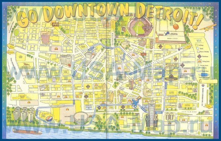Туристическая карта Детройта с достопримечательностями