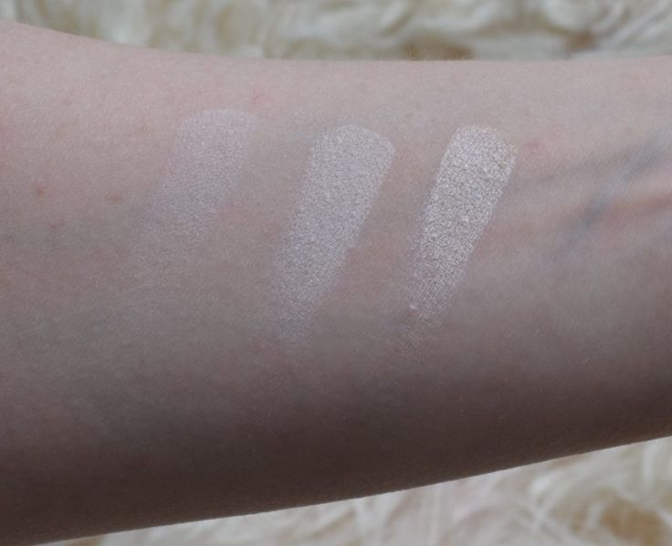 MAC eyeshadow swatches from left to right: Vanilla, Mylar, Shroom