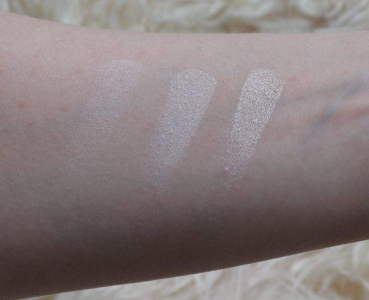 MAC eyeshadow swatches from left to right: Vanilla, Mylar, Shroom