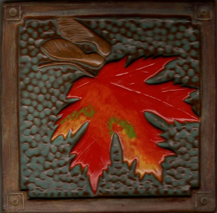 "6"" maple Leaf tile made by Fay Jones Day Tile - A one of a kind celebrating the start of Fall"