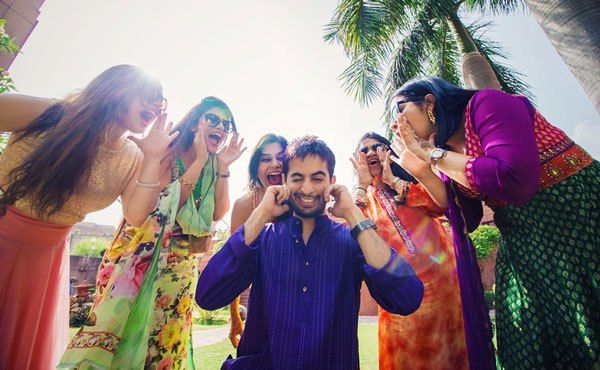 pictures every indian groom must have with his friends from the wedding | When your boss are girls | Curated by Witty Vows| The ultimate guide for the Indian Bride to plan her dream wedding. Witty Vows shares things no one tells brides, covers real weddings, ideas, inspirations, design trends and the right vendors, candid photographers etc.| #bridsmaids #inspiration #IndianWedding | Curated by #WittyVows - Things no one tells Brides | www.wittyvows.com