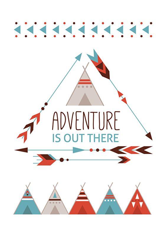 Poster Adventure is out there A4. Stoere tipi poster met quote Adventure is out there. Leuk om een stoere jongens babykamer of kinderkamer mee te decoreren. Mooi in combinatie met de bijpassende Indian adventure hanglamp en wandlamp.
