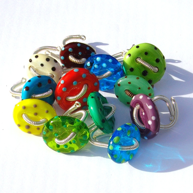 Lampwork button rings