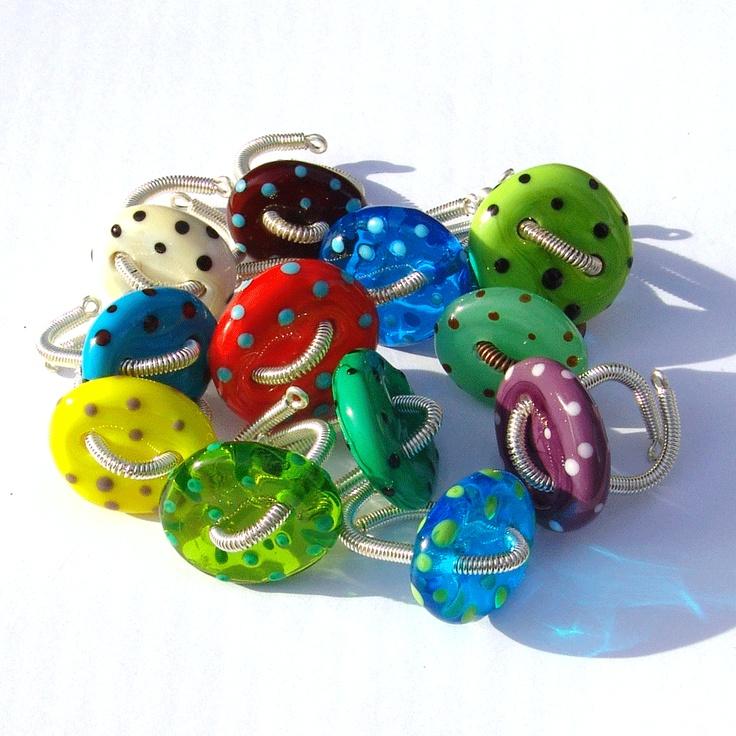 Lampwork button rings