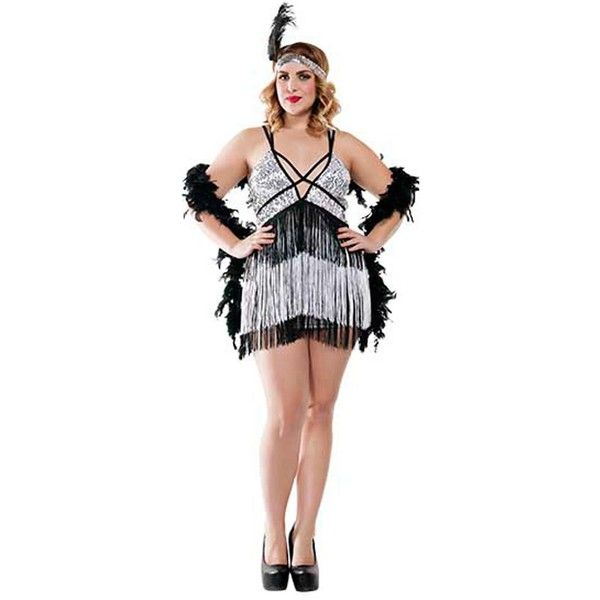 Boardwalk Flapper Costume for Plus Size Women ($80) ❤ liked on Polyvore featuring costumes, halloween costumes, womens costumes, flapper costumes, lady halloween costumes, ladies halloween costumes and womens plus costumes