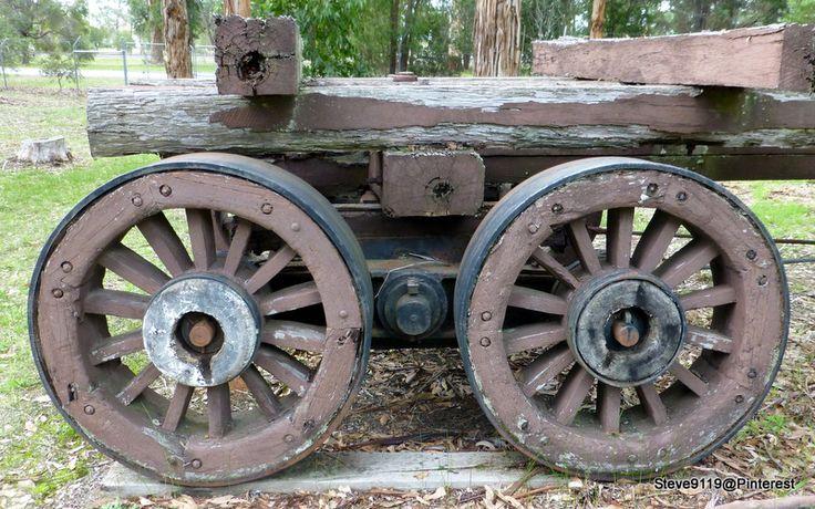 Wooden wagon wheels @ Manjimup, Western Australia