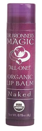 Dr. Bronner's Naked Lip Balm, Unscented. Contains Organic Jojoba seed oil, Organic avocado oil, organic beeswax, hemp seed oil and Vitamin E. Available @ SaffronRouge.com (Guelph, ON) #unscented #scentfree #fragrancefree #organic #lanolinfree #glutenfree #gmofree #nongmo