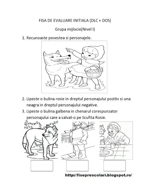 FISE de Evaluare Initiala grupa MIJLOCIE - DS - DLC - DOS | Fise de lucru - gradinita
