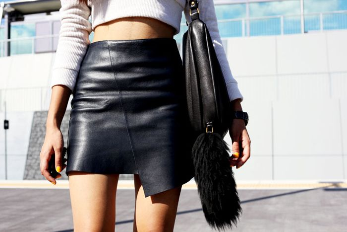 cropped knit + leather skirt