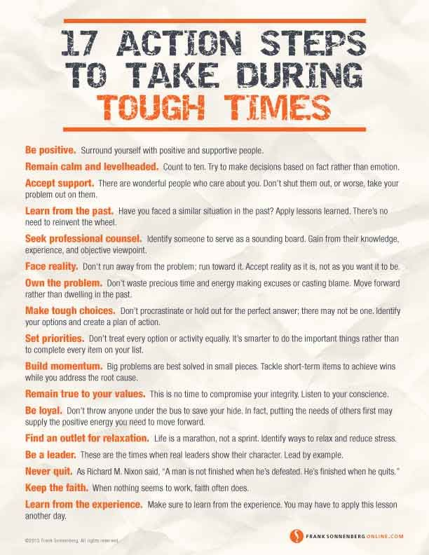 17 Action Steps to Take During Hard Times  | Values to Live By | www.FrankSonnenbergonline