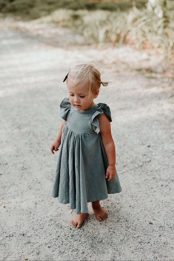 46b0817a7e Handmade Sea Mist Linen Twirl Dress